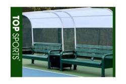 băng ghế ngồi sân tennis có mái che đôi được lợp bằng bạt